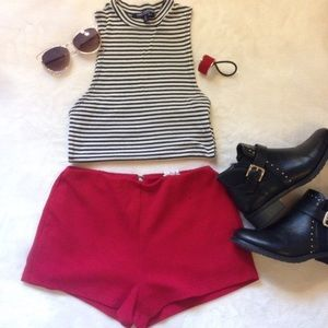 Golden Zipper Red Shorts